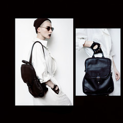 Fall Winter Trend Stylish collage hipster model. Swag.Girl Minim