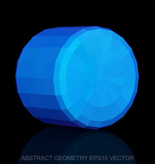 Abstract stereometry: low poly Blue Cylinder. EPS 10, vector.