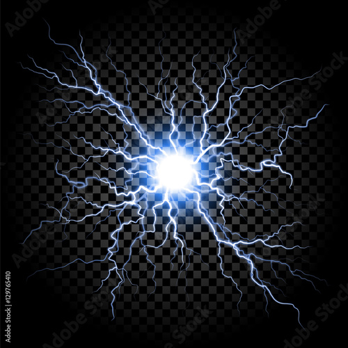 Lightning flash light thunder on transparent background