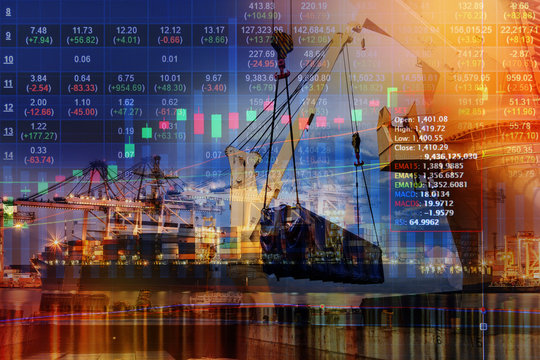 Double exposure of stocks market chart concept with International Container Cargo ship in the ocean, Freight Transportation, Shipping, Nautical Vessel,container,