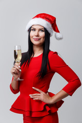Christmas woman in red dress