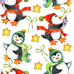 New Year, penguin, gift, watercolor, illustration, seamless pattern