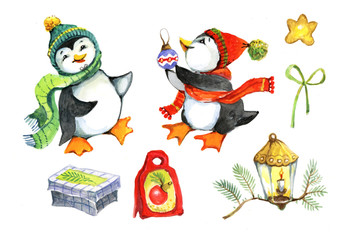 New Year, penguin, gift, watercolor, illustration