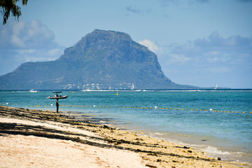 Beach with Le Morne mountain in the distance, Mauritius