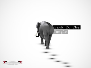 graphic design vector of elephant go back to the jungle vector, wild life graphic design concept