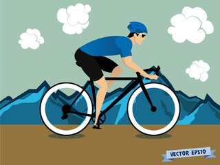 graphic design vector of biker athlete cycling on the mountain