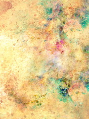 abstract multicolor flower motive collage in space. Old effect.