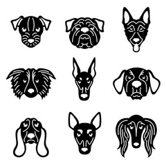 Head Dog  papercut sign vector set design