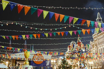 Decorated city in new year