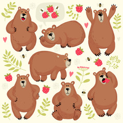 Set of illustrations with bears. Different poses