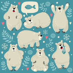 Set of illustrations with polar bears. Different poses