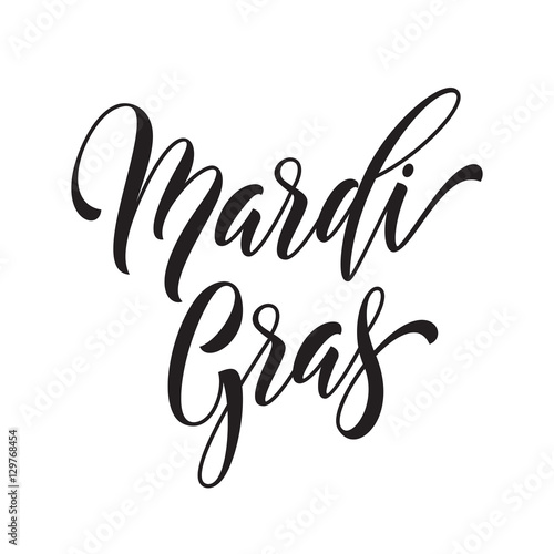 Quot mardi gras calligraphy lettering for fat tuesday holiday