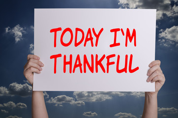 Today i`m thankful card with sky background