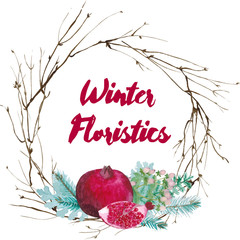 Vector watercolor floristic composition. Pomegranate and spruce twigs wrearh. Winter wedding decoration