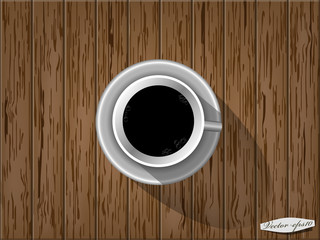 realistic graphic design vector of cup of coffee on wood table,top view