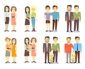 Set of vector gay LGBT happy families
