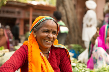 Indian woman in a local market in Jaipur, India