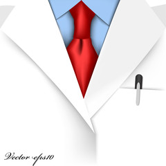 realistic graphic design vector of doctor suit with red necktie