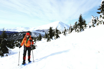 Winter hiking in the mountains.