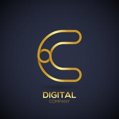 Letter C Logo Design.Linked shape circle symbol,Digital,Gold color