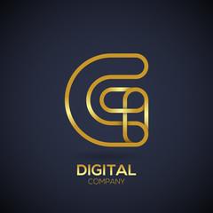 Letter G Logo Design.Linked shape circle symbol,Digital,Gold color