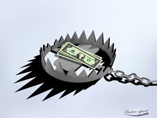 vector design of metal trap using US dollar