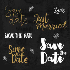 Save the date logos. Wedding invitation with hand drawn lettering Isolated. Vintage typographic design elements.