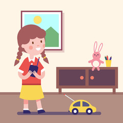 Girl playing with remote controlled car
