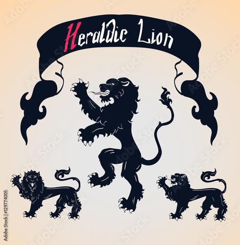 Vector Heraldic Lions Set