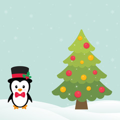 cute penguin with snow and fir tree