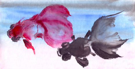 Goldfish, watercolor. Use printed materials, signs, items, websites, maps, posters, postcards, packaging.