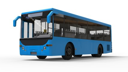 Small urban blue bus on a white background. 3d rendering.