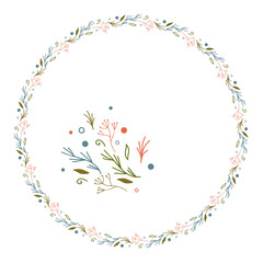 Floral wreath with hand drawn elements.