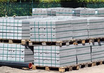 Concrete construction materials on pallets
