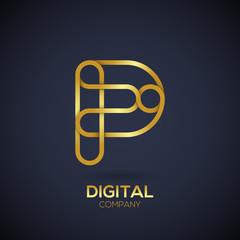 Letter P Logo Design.Linked shape circle symbol,Digital,Gold color