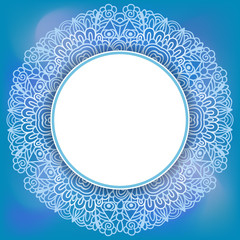 Lacy border line pattern and soft blue background.