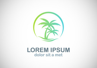 palm tree tropic beach logo