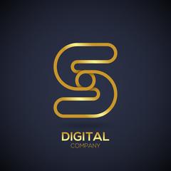 Letter S Logo Design.Linked shape circle symbol,Digital,Gold color