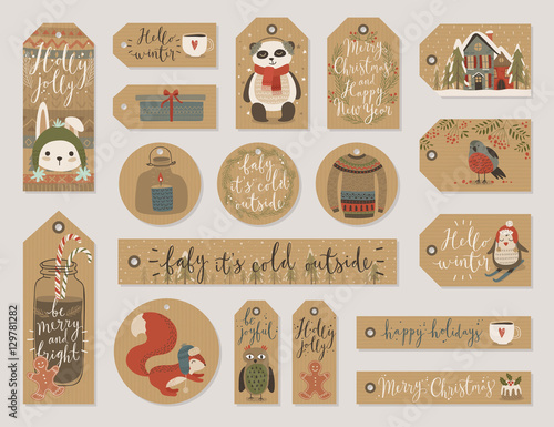Wall mural Christmas gift tags set, hand drawn style.