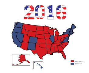 Presidential Electoral Maps 2016 Colored with results.