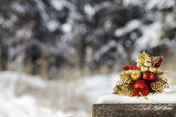 holiday decoration on snow / christmas background