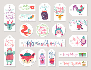 Wall Mural - Christmas gift tags set, hand drawn style.