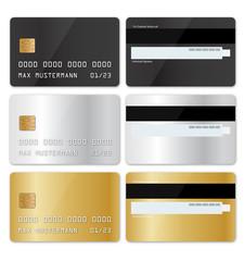 Scheckkarten Set - schwarz - gold - silber