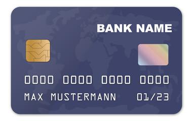 blaue Scheckkarte mit Weltkarte Muster