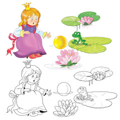 Fairy tale. The frog prince. A cute princess and a frog. Illustration for children. Coloring page