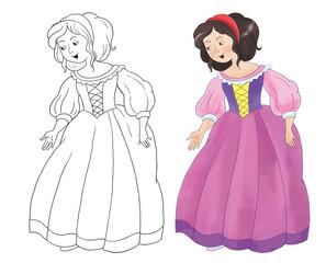 Aluminium Prints Knights Fairy tale. The Snow White and seven dwarfs. Illustration for children