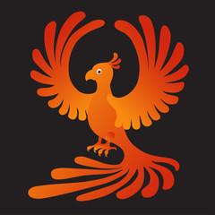 Phoenix on the black background. Fire-bird.
