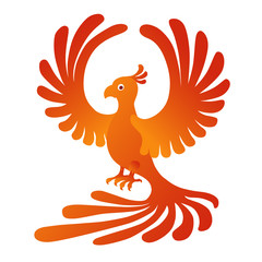 Phoenix on the white background. Fire-bird.