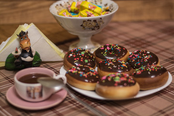breakfast donuts with coffee