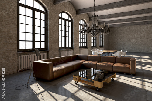 loft fabrik lagerhaus interior modern design zdj stockowych i obraz w royalty free w. Black Bedroom Furniture Sets. Home Design Ideas